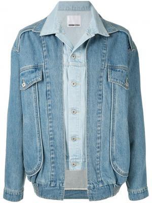 Джинсовая куртка с многослойным эффектом Ground Zero. Цвет: синий