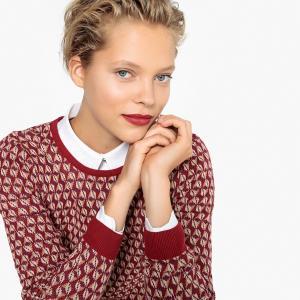 Пуловер жаккардовый с круглым вырезом LA REDOUTE COLLECTIONS. Цвет: жаккард/красный,узор синий