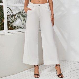 Белые широкие джинсы SHEIN. Цвет: белый