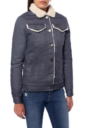 Джинсовая куртка на овчине Dasti. Цвет: серый