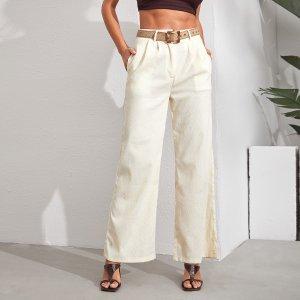 Однотонные прямые брюки без пояса SHEIN. Цвет: бежевые