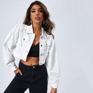 Рваная джинсовая куртка с карманом SHEIN. Цвет: белый