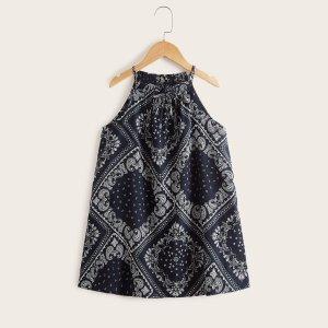 Для девочек Платье-халтер с принтом пейсли и шарфа SHEIN. Цвет: темно-синий