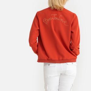 Бомбер с надписью и вышивкой сзади LPB WOMAN. Цвет: красный мак