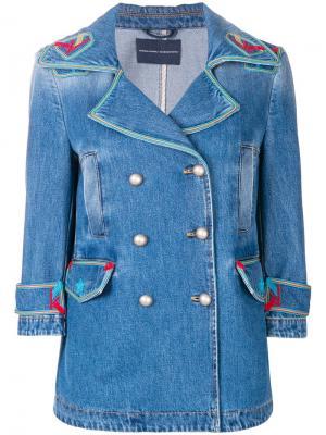 Джинсовая куртка с контрастными вышивками Ermanno Scervino. Цвет: синий