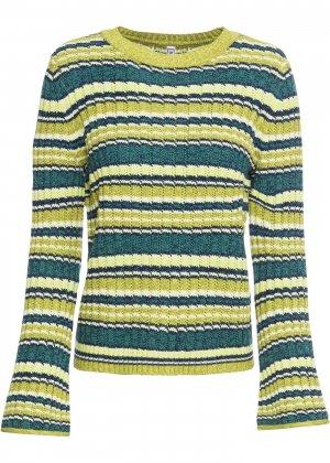 Пуловер с широкими рукавами bonprix. Цвет: зеленый