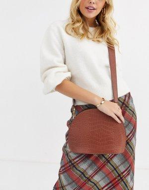 Большая сумка через плечо -Светло-коричневый ASOS DESIGN
