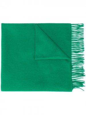 Кашемировый шарф с бахромой Begg & Co. Цвет: зеленый