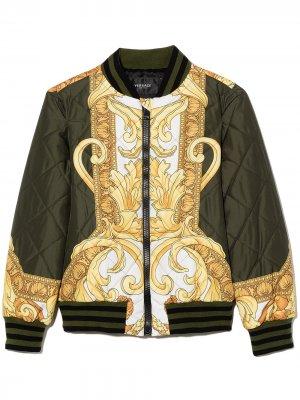 Baroque-print quilted bomber jacket Versace Kids. Цвет: зеленый