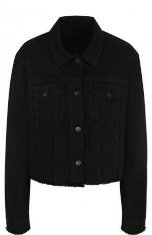 Укороченная джинсовая куртка свободного кроя J Brand. Цвет: черный