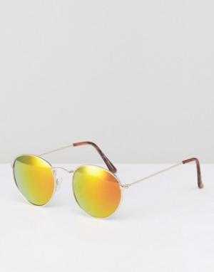 Золотистые солнцезащитные очки в круглой оправе New Look. Цвет: золотой