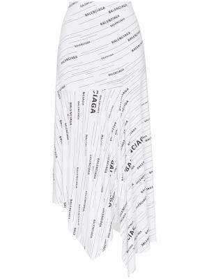 Эластичная юбка асимметричного кроя с логотипами Balenciaga. Цвет: белый