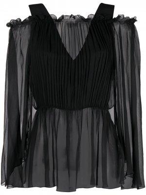 Блузка с открытыми плечами и сборками Alberta Ferretti. Цвет: черный
