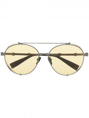 Солнцезащитные очки-авиаторы Brigade-II Balmain. Цвет: черный