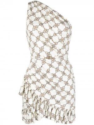 Платье мини с принтом Elisabetta Franchi. Цвет: нейтральные цвета