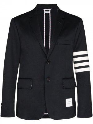 Однобортный пиджак с полосками 4-Bar Thom Browne. Цвет: синий