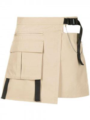 Юбка мини с карманами Ground Zero. Цвет: коричневый