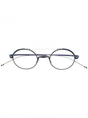 Очки в круглой оправе Thom Browne Eyewear. Цвет: синий