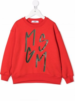 Logo-print crew neck sweatshirt MSGM Kids. Цвет: красный