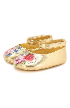 Кожаные пинетки Dolce & Gabbana. Цвет: золотой