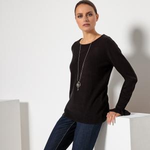 Пуловер с круглым вырезом из тонкого трикотажа ANNE WEYBURN. Цвет: бежевый,сиреневый,темно-синий,черный