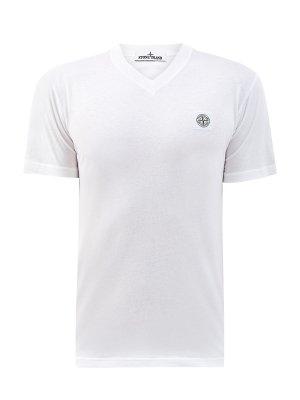Белая футболка из хлопка с V-образным вырезом STONE ISLAND. Цвет: белый
