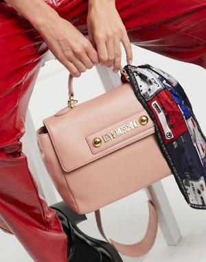 Светло-розовая сумка-портфель с шарфиком -Розовый Love Moschino