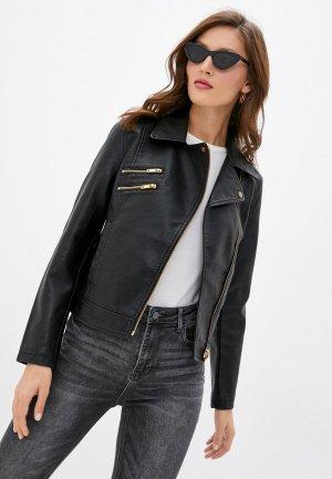 Куртка кожаная Mavi ZIP UP BIKER JACKET. Цвет: черный