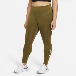 Женские слегка укороченные леггинсы для бега со средней посадкой Swoosh Run (большие размеры) - Зеленый Nike