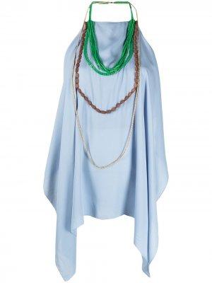Декорированная блузка с вырезом халтер Jacquemus. Цвет: синий