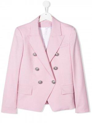 Двубортный пиджак Balmain Kids. Цвет: розовый
