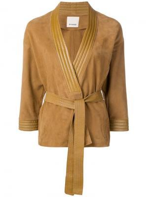 Кожаная куртка с поясом Pinko. Цвет: коричневый