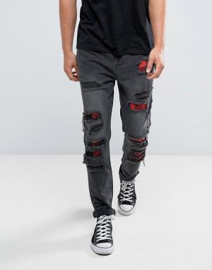 Черные состаренные джинсы скинни Cayler & Sons. Цвет: черный