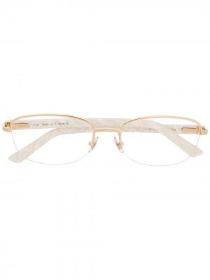 Очки в овальной оправе Cartier Eyewear. Цвет: белый