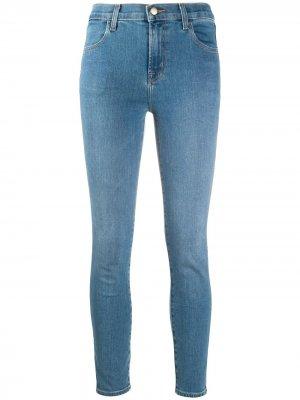 Укороченные джинсы скинни Alana с завышенной талией J Brand. Цвет: синий