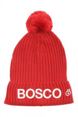 Красная шапка из шерсти с аппликацией Bosco. Цвет: красный