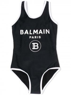 Купальник с логотипом Balmain Kids. Цвет: черный