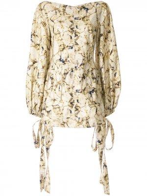 Платье мини Caspian с принтом CAMILLA AND MARC. Цвет: желтый