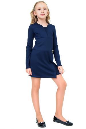 Платье с брошью Ladetto. Цвет: темно-синий