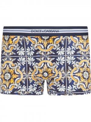 Боксеры с принтом Maiolica Dolce & Gabbana. Цвет: синий
