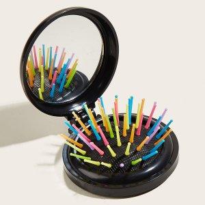 Щетка для волос и зеркало 2 в 1 SHEIN. Цвет: чёрный
