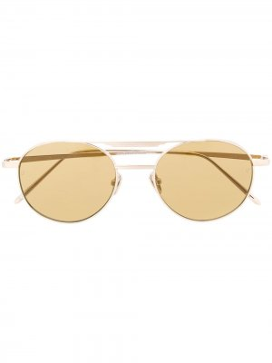 Солнцезащитные очки Lou в овальной оправе Linda Farrow. Цвет: серебристый