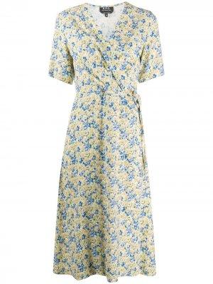 Платье с запахом и цветочным принтом A.P.C.. Цвет: желтый