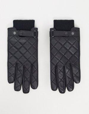 Черные стеганые кожаные перчатки -Черный Barbour