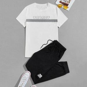 Мужской с текстовым принтом Футболка на кулиске Спортивные брюки SHEIN. Цвет: черный и белый