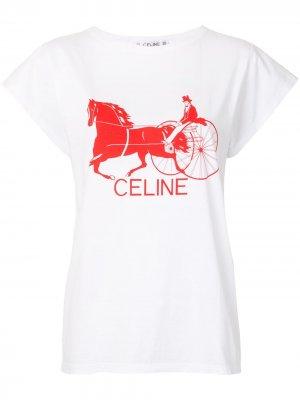 Футболка с логотипом Céline Pre-Owned. Цвет: белый