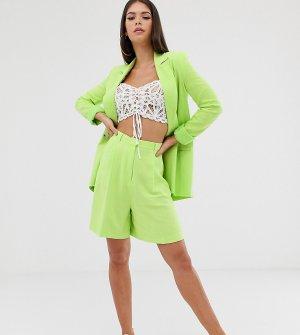 Шорты в винтажном стиле с добавлением льна ASOS DESIGN Tall-Зеленый Tall
