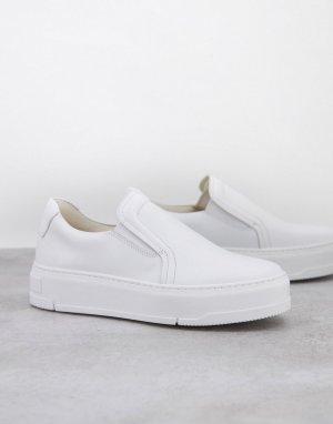 Белые кроссовки-слипоны на платформе Judy-Белый Vagabond