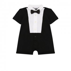 Хлопковый песочник с галстуком-бабочкой Dolce & Gabbana. Цвет: чёрный
