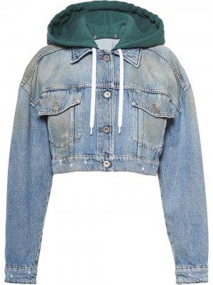 Укороченная джинсовая куртка с вышивкой Miu. Цвет: синий